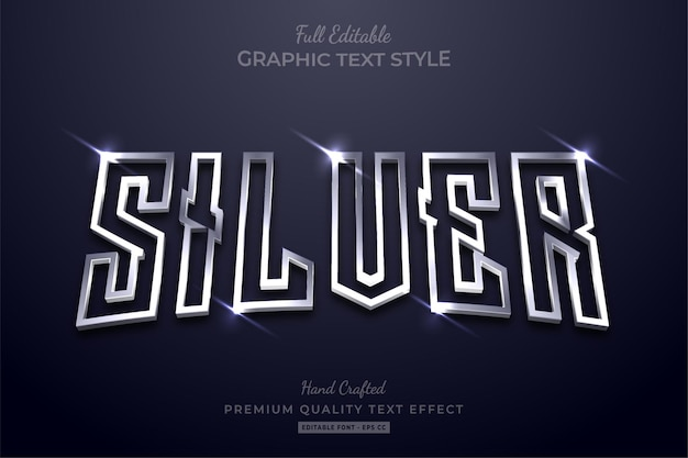 Glowing silver editable text effect font style