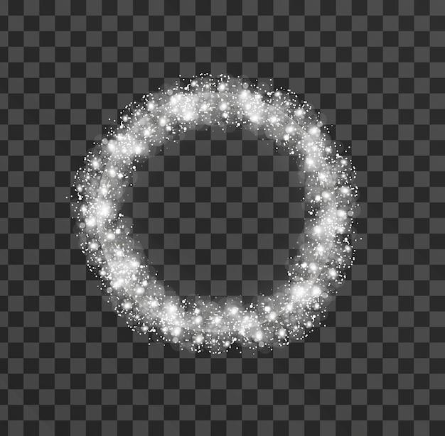 透明な背景に輝く輝きのまぶしさの光の効果。点滅するライトをスパークします。図