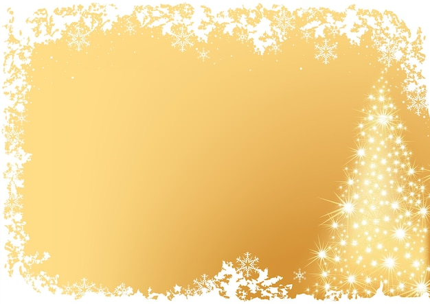 Glowing and sparkling golden christmas tree background