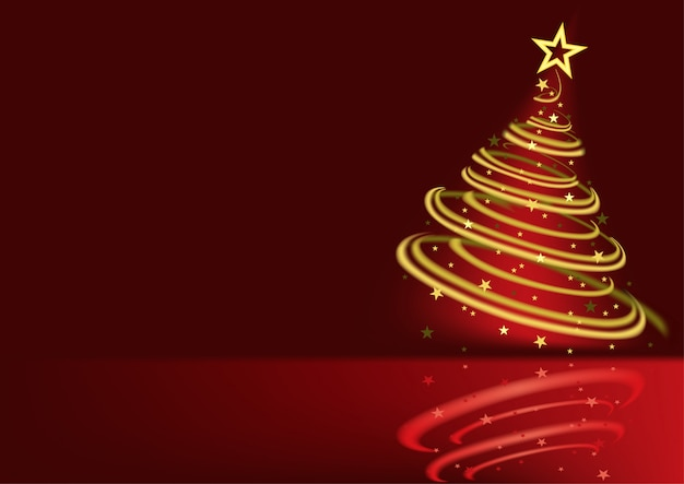 Glowing spiral christmas tree background
