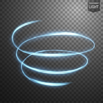 Glowing spiral on transparent background