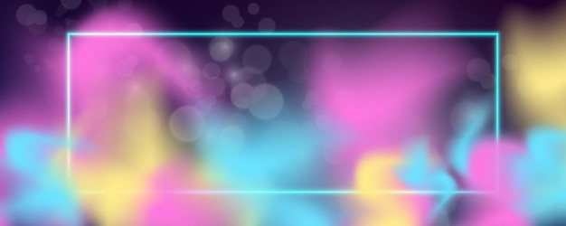 Glowing square neon frame with smoke. vector illustration