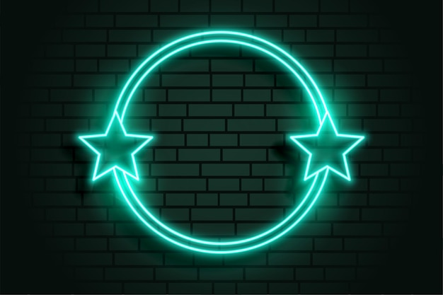 Glowing star neon circular frame with text space