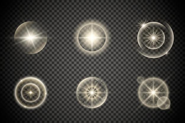 輝く星の光または光のバースト