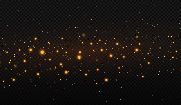 Glowing streaks of dust on a transparent background