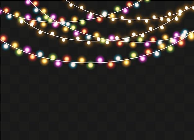 Glowing string garland, lightbulbs.