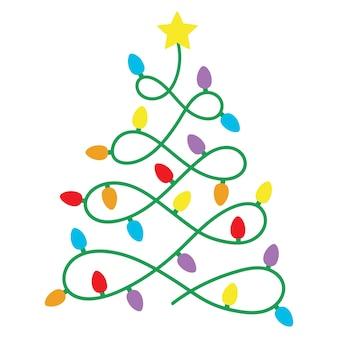 크리스마스 트리 모양의 빛나는 문자열 전구 화환 조명으로 만든 화려한 크리스마스 트리