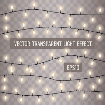Glowing string lights on a transparent background