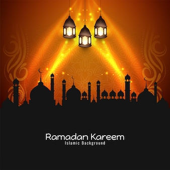 Glowing stylish ramadan kareem festival background design vector