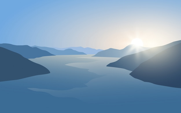 Glowing sunrise in lake nature landscape