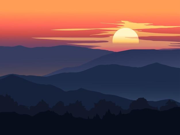 山に沈む夕日