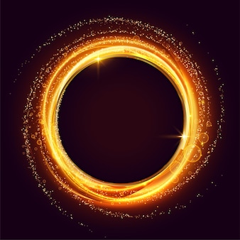 きらめきと粒子の背景で作られた輝く渦巻きフレーム