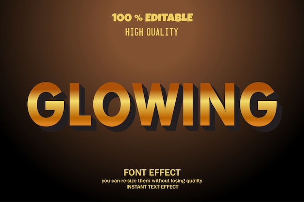 Glowing text, editable font effect