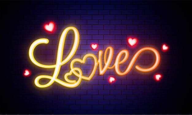 Glowing text love with heart shapes on blue brick wall.