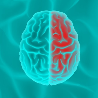 Glowing turquoise human brain top view close up isolated on background