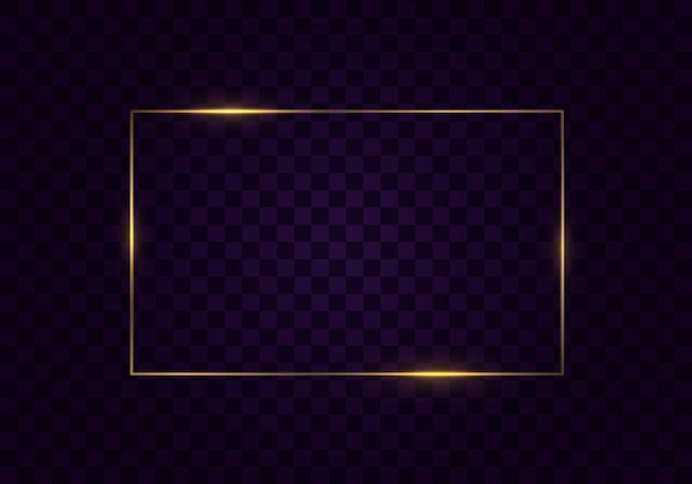 透明な背景に分離された影と輝くヴィンテージゴールドフレーム。ライト効果のある長方形のフレーム。ゴールデンラグジュアリーリアルな長方形のボーダー。