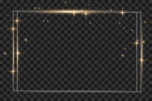 투명 한 배경에 고립 된 그림자와 함께 빛나는 빈티지 골드 프레임. 조명 효과가 있는 직사각형 프레임입니다. 오래 된 럭셔리 현실적인 사각형 테두리입니다. 벡터