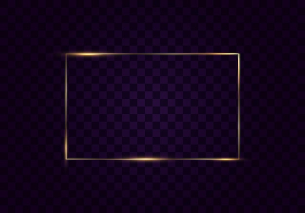 Glowing vintage gold frame with shadows isolated on transparent background rectangular frame with lights effects golden luxury realistic rectangle border vector