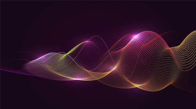 Glowing waves background