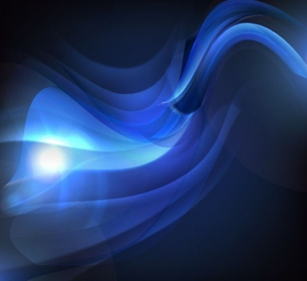 Glowing waves in dark blue tones
