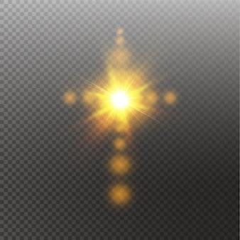 태양 플레어와 빛나는 흰색 기독교 십자가. 투명 한 배경에 그림입니다. 하늘에서 부활의 빛나는 부활절 상징.