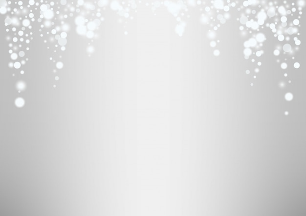Glowing white snow flakes christmas background