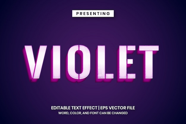 Glowing white violet metal text effect