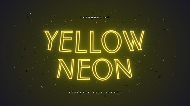 빛나는 노란색 네온 텍스트 효과. 편집 가능한 텍스트 스타일 효과