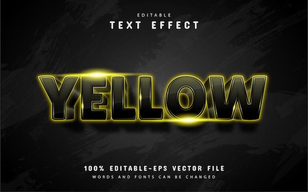 블랙에 고립 된 빛나는 노란색 텍스트 효과