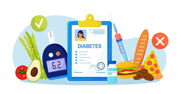 식이 요법과 건강에 해로운 음식으로 혈당 수치 혈액 검사를 위한 혈당계. 의료 보고서 또는 진단 카드. 당뇨병, 저혈당, 고혈당 환자를 위한 당뇨병 영양
