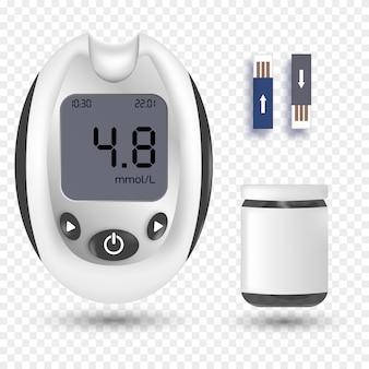 Глюкометр. реалистичный глюкометр. сахарный диабет, анализ крови.