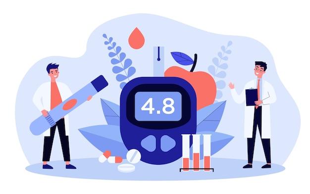 Иллюстрация концепции уровня глюкозы и диабета Premium векторы