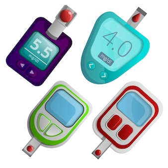 Glucose meter icon set, cartoon style