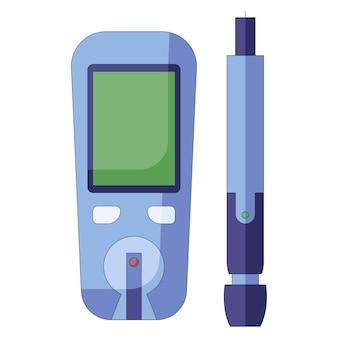 혈당 측정기 벡터 일러스트 레이 션 당뇨병 혈당 검사 현대 전자 아이콘