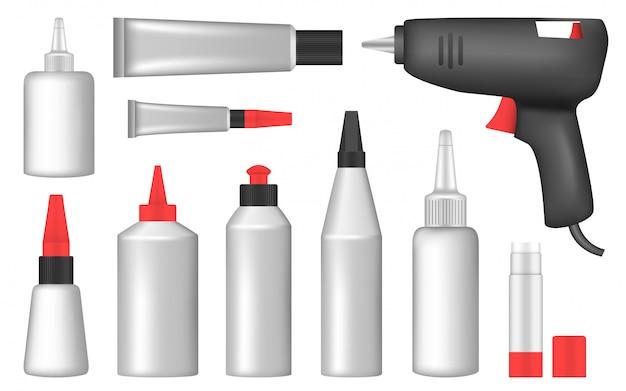 Glue icon set, realistic style
