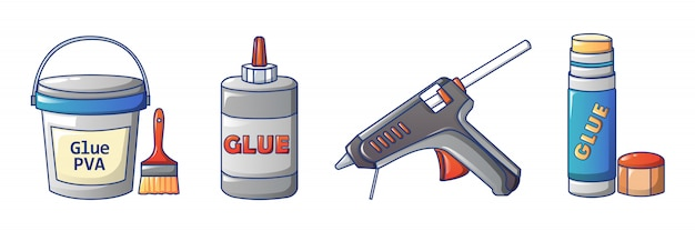 Glue icons set, cartoon style