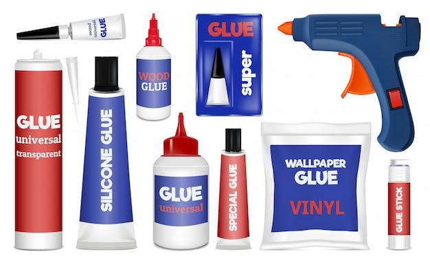 Glue icons set. realistic set of glue vector icons isolated