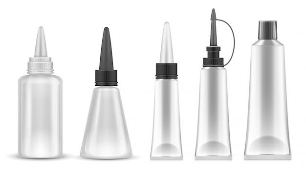 접착제 포장. 접착제, 치약 및 화장품 용 현실적인 튜브 및 병. 고립 된 벡터 세트