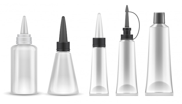 Glue packing. realistic tubes and bottles for adhesive, tooth paste and cosmetic products. isolated vector set