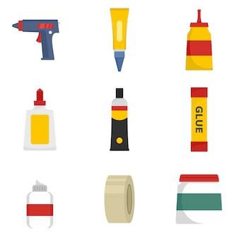 Glue stick adhesive icons set