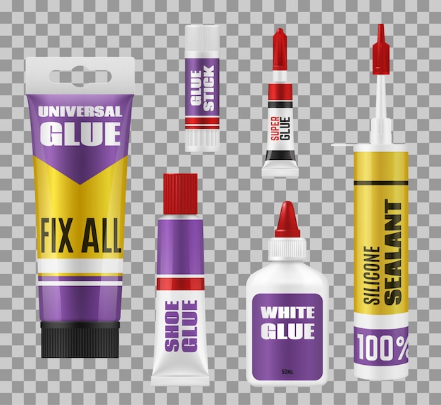 Glue sticks, tubes and bottles. adhesive packages