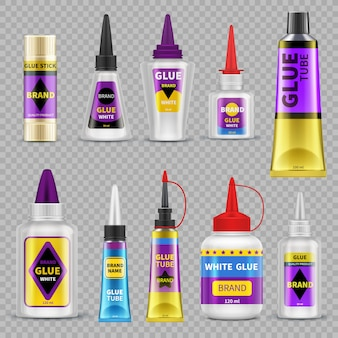 Glue tubes. adhesive stick and bottle plastic packaging 3d isolated vector illustration