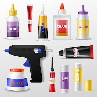 Glue vector gluestick and gluely liquid in bottle or plastic tube for glueing paper illustration set of superglue for fixing isolated