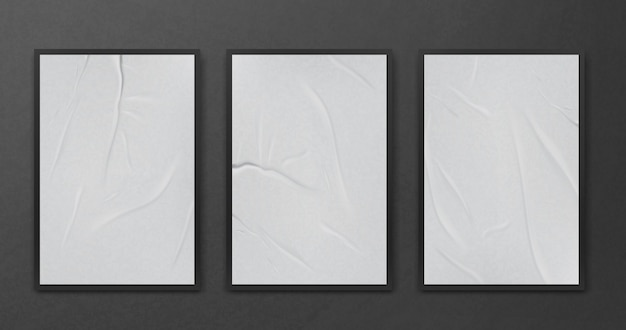 심하게 구겨진 구겨진 종이 시트 템플릿 세트 흰색 배경 포스터 현실적인 벡터 일러스트를 조롱