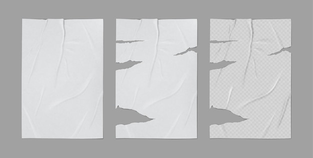 Glued badly wrinkled torn crumpled paper sheet template set mock up grey background poster realistic