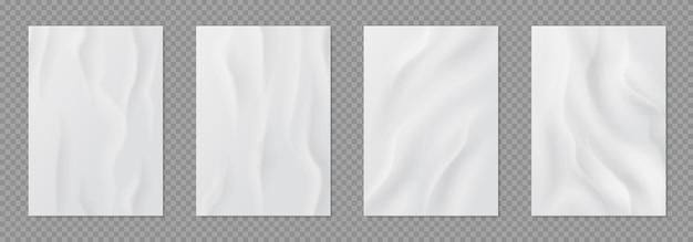 접착제로 붙인 종이. 현실적인 젖은 주름 된 시트, 흰색 빈 주름이 잡힌 종이 휘장, 접착 스티커 세트.