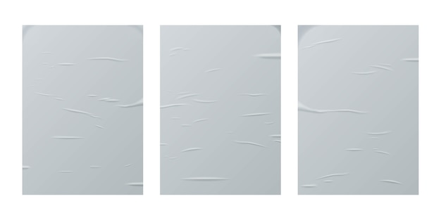 Glued paper sheets set isolated on white background.