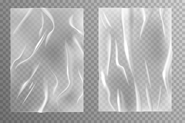접착 종이. 주름지고 구겨진 시트 질감, 빈 구겨진 포스터, 젖은 주름진 투명 플라스틱 현실적인 벡터 빈 템플릿