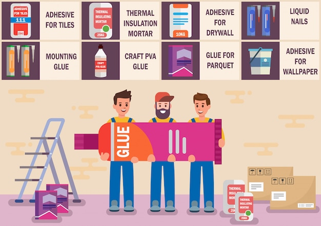 Glues and adhesive materials flat vector banner