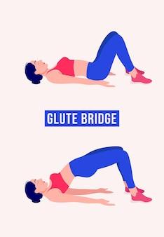 Glute bridge упражнения женщина тренировки фитнес аэробика и упражнения